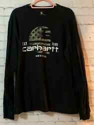 Carhartt Large Mens Black Solid Cotton Relaxed Fit Long Sleeves Pullover T Shirt $15.98
