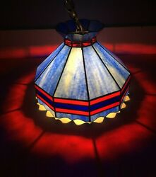Vintage 1950s Tiffany Style Hanging Lamp Stained Glass Light Chandelier Blue Red $230.00