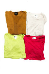 Andrea Jovine Womens Crew Neck Tee Pink Lime Green Size Small Medium LOT 4 $32.99