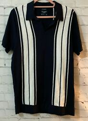 Abercrombie amp; Fitch Large Mens Navy White Striped Short Sleeve Casual Polo Shirt $27.98
