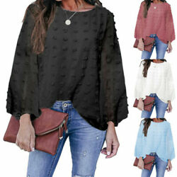 Womens Crew Neck Long Sleeve Chiffon Dots Blouse Shirts Ladies Casual French Top $19.09