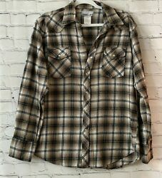 Wrangler Large Mens Brown Pearl Snap Plaid Long Sleeve Cotton Wrancher Shirt $119.92
