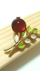 Vintage Gold Tone Red Glass Cabochon Enameled Floral Brooch Pin $35.00
