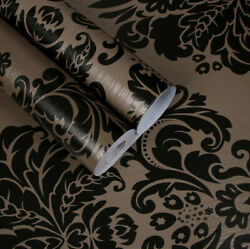 Self Adhesive Black Damask Flower Wallpaper Contact Paper Bedroom Home Decor Q33 $6.29