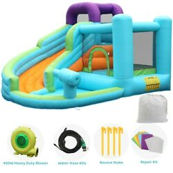 Safety Three Play Areas Inflatable Bounce House Kids Castle Slide with Blower US $289.99