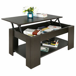 New Lift up Coffee Table Hidden Storage Cabinet Compartment Longlasting Brown Fi $39.89