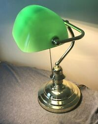 Art Deco Bankers Brass Desk Lamp Green Glass Vintage Pull Chain Light Authentic $62.00