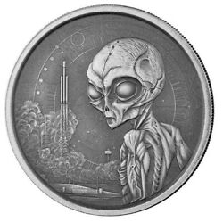 2021 Ghana Alien 1 oz Silver Antique Coin Only 3K Mint Ships Free $48.95