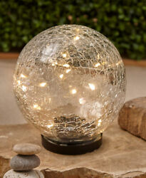 Large Solar Crackle Garden Globe with Fairy Warm White Lighted Outdoor Decor