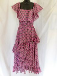 Rhode Resort Pink Green Floral Off The Shoulder Ruffled Maxi Dress Size Small $200.00