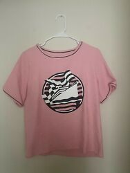 Woman Crew Neck pink t shirt with boat print size L $6.45