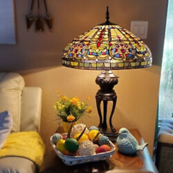 Tiffany Style Lamp Stained Glass Accent Emperor Accent Table Lamp 35in x 22in $239.77