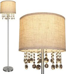 Contemporary Floor Lamp Modern Standing Living Room Reading Crystal Chrome Tall $78.99