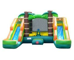 Pogo Tropical Inflatable Bounce House Double Lane Water Slide Pool With Blower $625.89