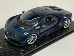 1 18 MR Collection Bugatti Chiron in Blue Carbon Fiber Body on Carbon Base $599.95