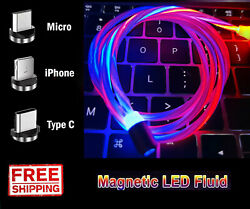 Magnetic LED Light Up USB Phone light up Charger Cord For Type C Micro Samsung $1.99