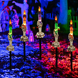 Twinkle Star Halloween Decorations 5 Pack Skeleton Hands Hold Lighted Candle St $43.79