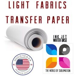 """Light Fabrics Ink jet Heat Transfer Paper Roll 24""""x50' Made In USA Free Delivery $65.99"""