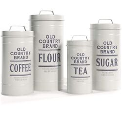 White Metal Rustic Farmhouse Kitchen Canisters BACK IN STOCK $41.95