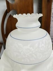 Frosted amp; Etched Lamp Shade Globe Fluted Ruffled TopOil Vintage White Blue NOS $49.00