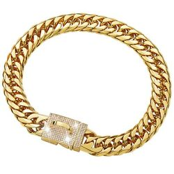 W W Lifetime Gold Dog Chain Collar 16MM with Bling Design Secure Buckle $27.99