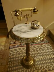 Vintage Brass and Marble Floor Table Rotary Phone Tested $374.99