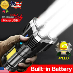 4Head LED Rechargeable Tactical Flashlight Torch COB Sde Light Camping Spotlight $12.47