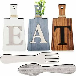 Cutting Board Eat Sign Set Hanging Art Kitchen Eat Sign Fork and Spoon Wall Deco $22.99
