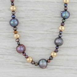 Cultured Black Pearl Gold Bead Strand Necklace 14k Gold 17quot; Statement $179.99