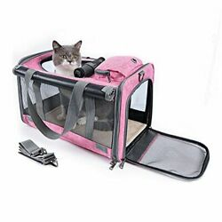 Cat Carrier Airline Approved Collapsible Pet Travel Carriers for Small Pink $50.98