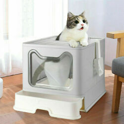 Nosmell Large Cat Litter Box Foldable Top Entry Covered Automatic Pet Litter Pan $46.94