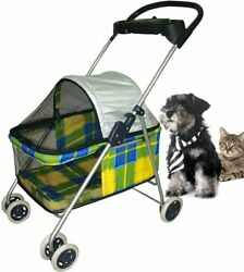 4 Wheels Pet Stroller Folding Dog Stroller Jogger Cat Strollers with Cup Holders $66.99
