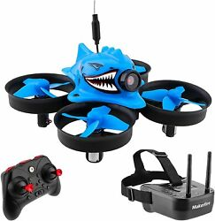 Micro FPV Racing Drone With Goggles Camera RTF Tiny Whoop Quardcopter Blue Shark $94.99