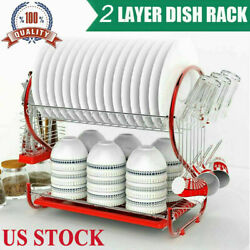 US 2 Tier Dish Drying Rack Stainless Steel Drainer Kitchen Storage Saver Stand $26.99