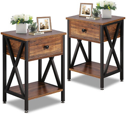 VECELO Night Stands for Bedroom Nightstand Bedside End Tables with Drawer Storag $84.62