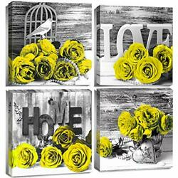 Yellow Wall Decor Black and White Bedroom Wall Art Rose Flower Canvas Prints ... $24.91