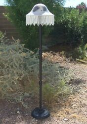 Vintage Floor Lamp with Reverse Painted Glass Shade with Beading Lilac Flowers $150.00