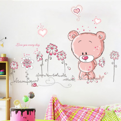 Lovely Pink Bear Wall Stickers Home Kids Room Wall Decals for Bedroom Decoration $9.44