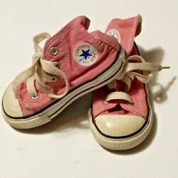 Converse All Star Chuck Taylor Pink High Top Girls Canvas Toddler Size 5 $15.99
