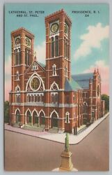 Providence Rhode Island Cathedral St Peters And St Paul Vintage Postcard $2.00