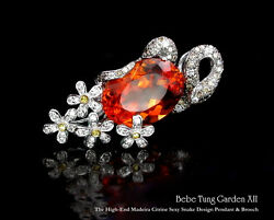 Garden - 18K(750) white gold high quality citrine diamond sexy pendant  brooch