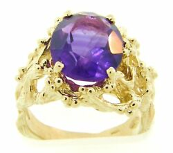 Stunning Large Amethyst amp; Solid 14 Gold Foilage Ring $584.55
