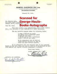 RUDOLPH MATE - SIGNED CONTRACT - SAMUEL GOLDWYN - 5 AA NOMINATIONS