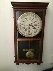 Regulator Clock Early 1900S Works Great Date And Time
