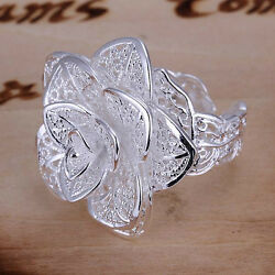 wedding party Fashion Cute silver Flower Beautiful women Ring jewelry nice R116
