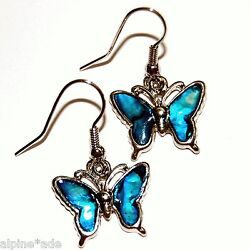 GORGEOUS TURQUOISE ABALONE PIERCED BUTTERFLY EARRINGS B7A Free Ship