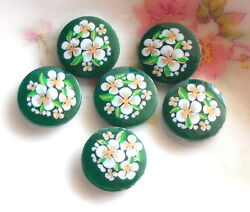 #854 Vintage Flower Cabochons Porcelain Green Japan Flowers 13mm Buttons NOS $3.50