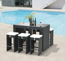 7pc Rattan Wicker Bar Set Patio Furniture Bistro Dining Table Stool Cushioned