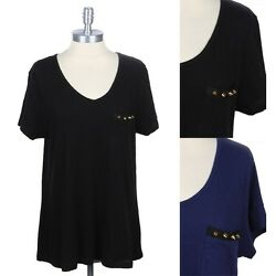 Junior Plus Size V Neck T Shirt with Studded Chest Pocket Casual 1XL 2XL 3XL $13.99