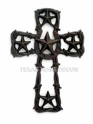 Horseshoe Stars Cast Iron Wall Cross Barbed Wire Rustic Country Western Decor $19.95